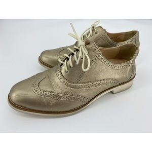 Cole Haan Gold Wingtip Oxford Loafers